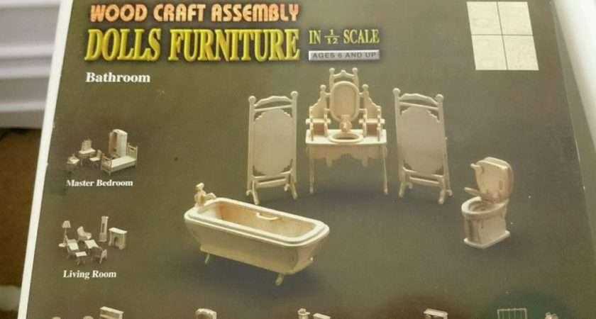 Dolls House Furniture Wood Craft Assembly Kit Bathroom Ebay