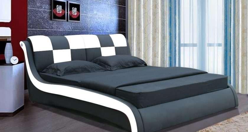 Domino Designer Leather Bed Modern