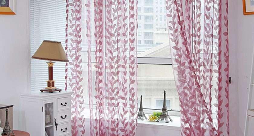 Door Window Scarf Sheer Leaves Printed Curtain Drape Panel
