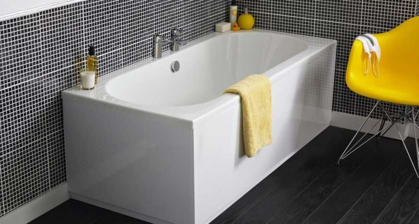 Double Ended Straight Bathtub Bathroom Shower Large Acrylic Bath