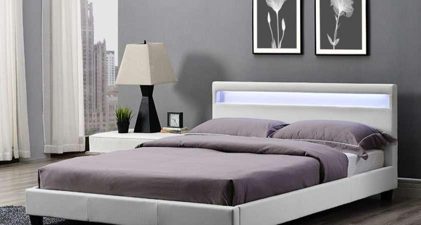 Double King Bed Frame Led Headboard Night Light