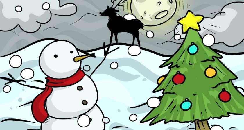 Draw Christmas Landscape Steps