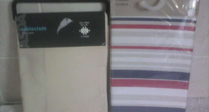 Dunelm Striped Table Runner Cream Tablecloth Ebay