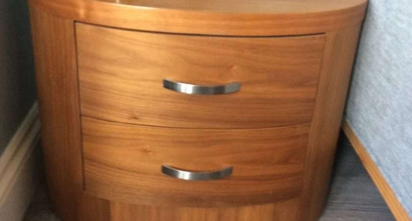 Dwell Oval Bedside Tables Walnut Barnet London