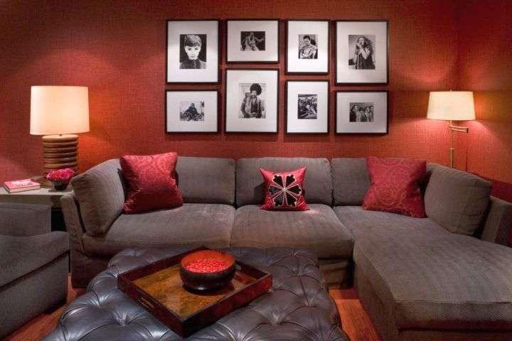 Earth Tone Living Room Grey Sofa Terracotta Wall
