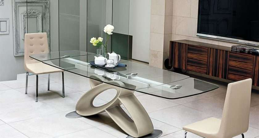 Eclipse Modern Rectangular Extending Glass Dining Table