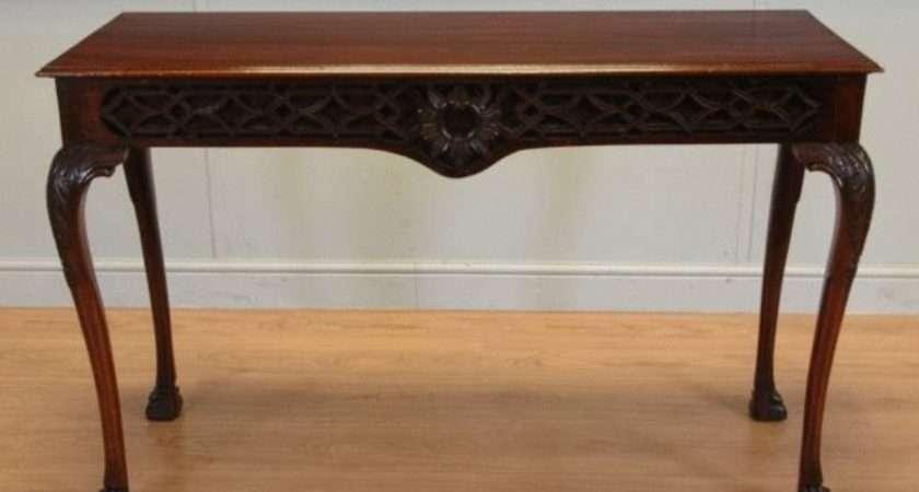 Edwardian Mahogany Antique Console Table Lion Paw