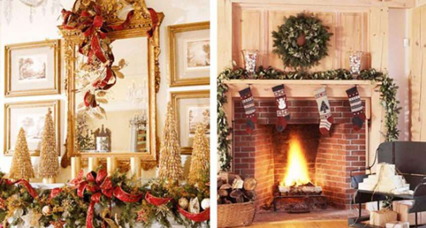 Elegant Christmas Fireplace Mantel Decorations Decor