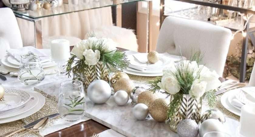 Elegant Gold White Christmas Tablescape Setting Four