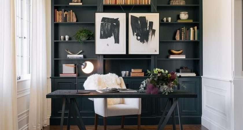 Elegant Home Office Features Black White Desk