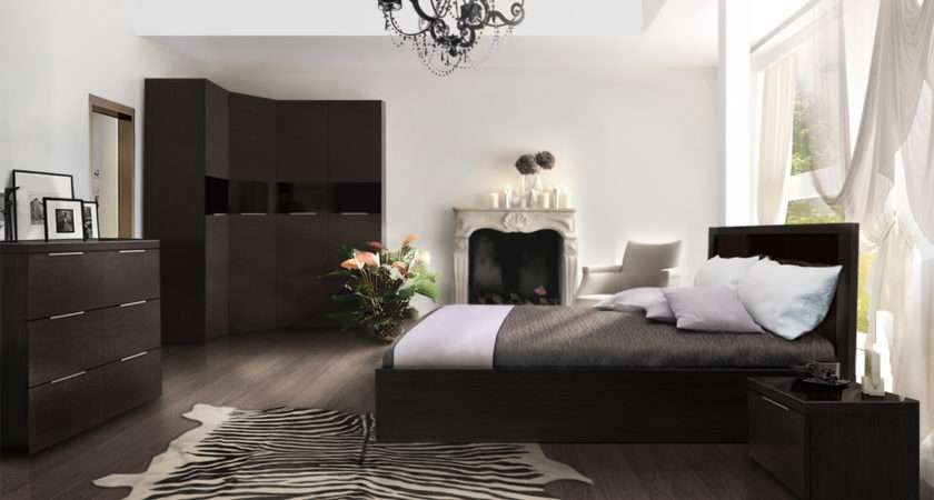 Elegant White Bedroom Dark Furniture Lot