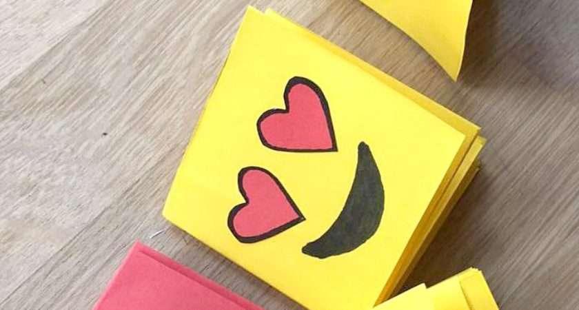 Emoji Mini Notebook Diy One Sheet Paper Red Ted Art