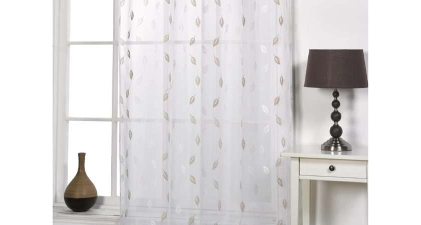 Epping Leaf Patterned Modern Ready Made Voile Panel Window