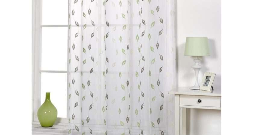 Epping Leaf Patterned Voile Living Room Transparent Panel