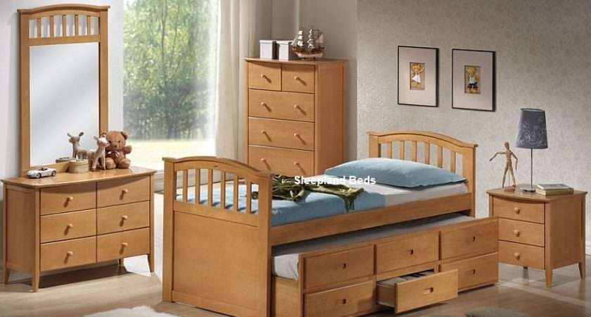 Euro Single Wooden Bed Hideaway Guest Drawers Pocket