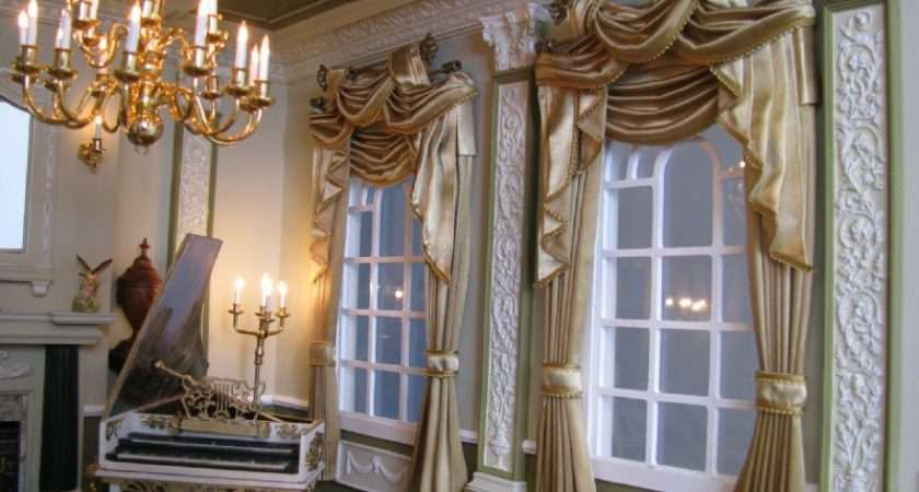 Exclusive Gold Double Brass Bar Curtains Swags Tails