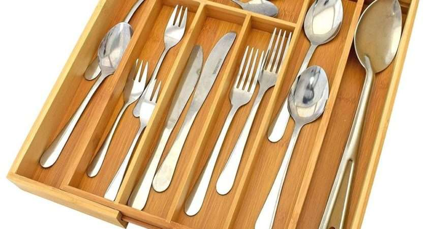 Expandable Bamboo Wooden Cutlery Tray Holder Tidy Drawer