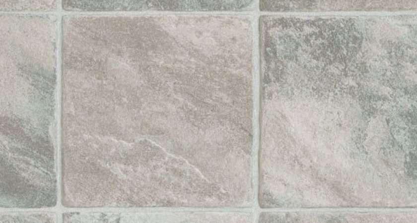 Extra Thick Vinyl Flooring Beige Grey Tile Effect