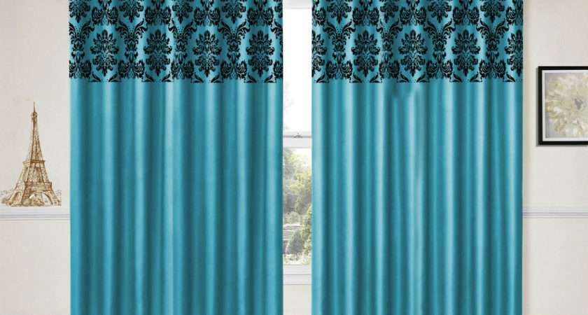 Eyelet Curtains Ring Top Fully Lined Damask Pair Ready Made