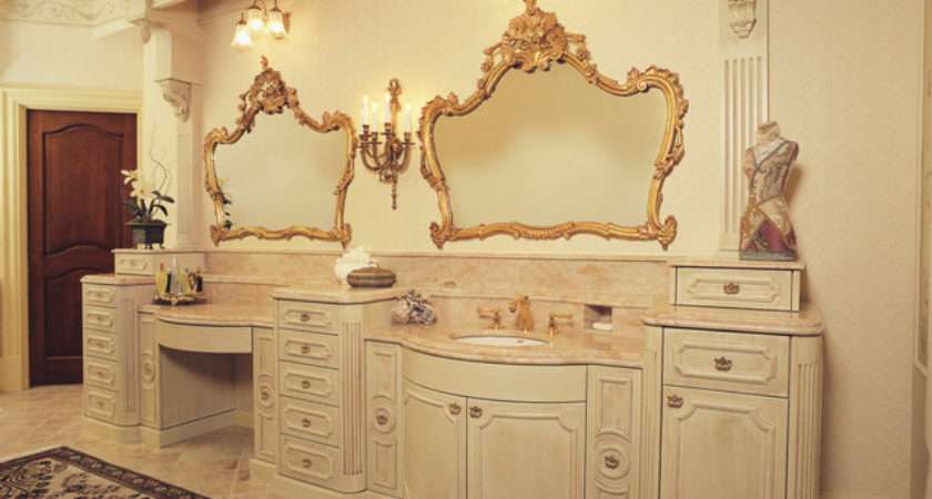 Fancy Glazed Painted Victorian Bathroom Vanity