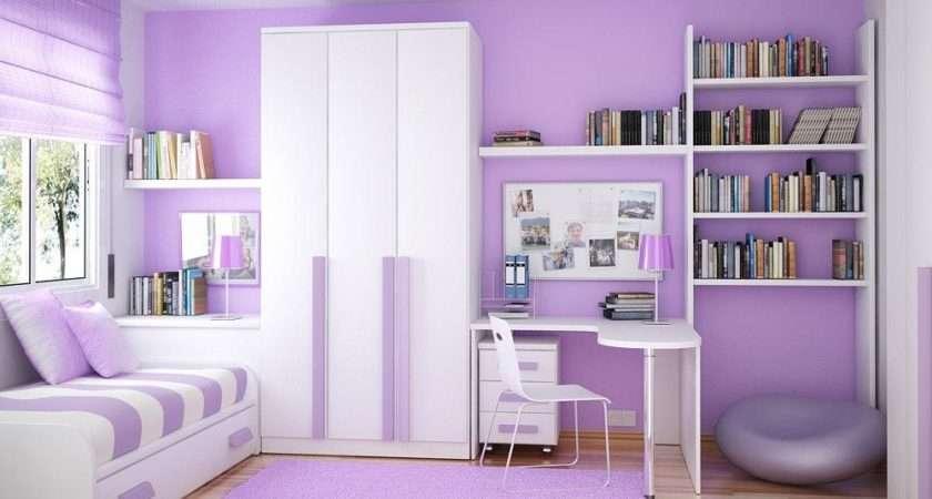 Fancy White Purple Bedroom Interior Design Gor Girls
