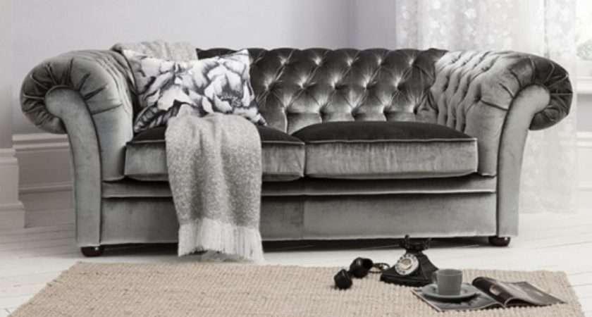Farina Seater Sofa Dark Grey Velvet Fabric Wooden