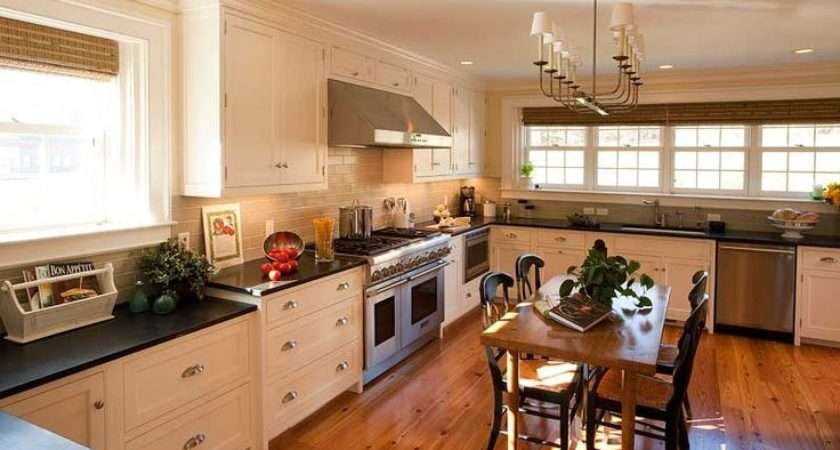Farrow Ball White Tie Cabinets Black Countertops