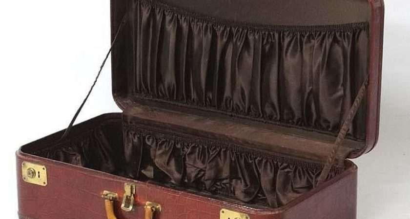 Faux Crocodile Skin Leather Suitcase Chocolate Brown