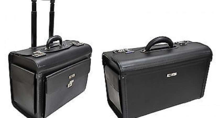 Faux Leather Laptop Trolley Wheeled Briefcase Hand Luggage