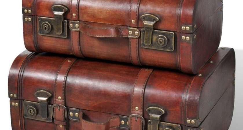 Faux Leather Look Vintage Suitcase Old Fashioned Pirate