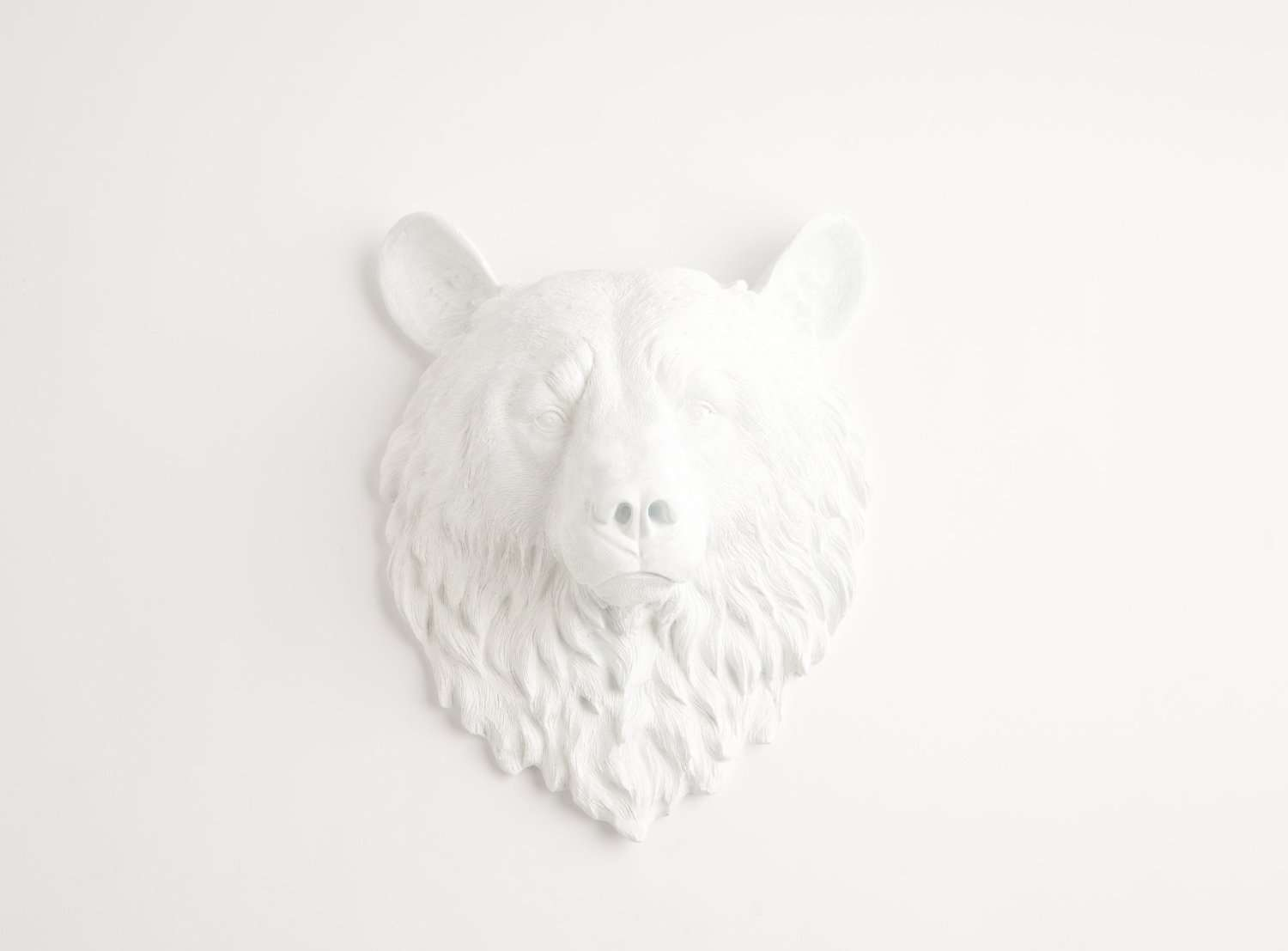 Faux Taxidermy Resin Bear Head Wall Mounts White