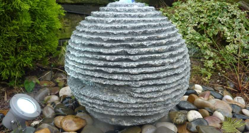 Features Garden Water Feature Grey Granite Natural Sphere