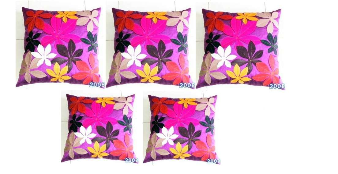 Felt Flower Patch Cushion Cover Purple Pcs Set Buy
