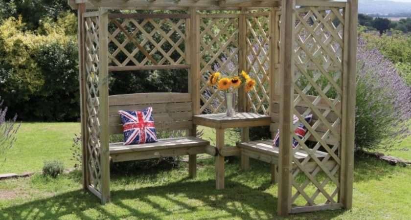 Fettes Hutton Avon Corner Garden Arbour Made Redwood