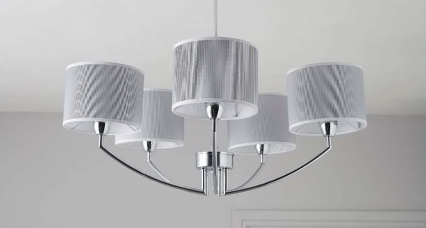 Fides Shaded Grey Chrome Effect Lamp Pendant Ceiling