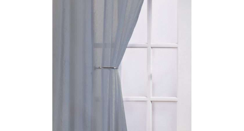 Fiji Silver Crushed Voile Panel Woodyatt Curtains