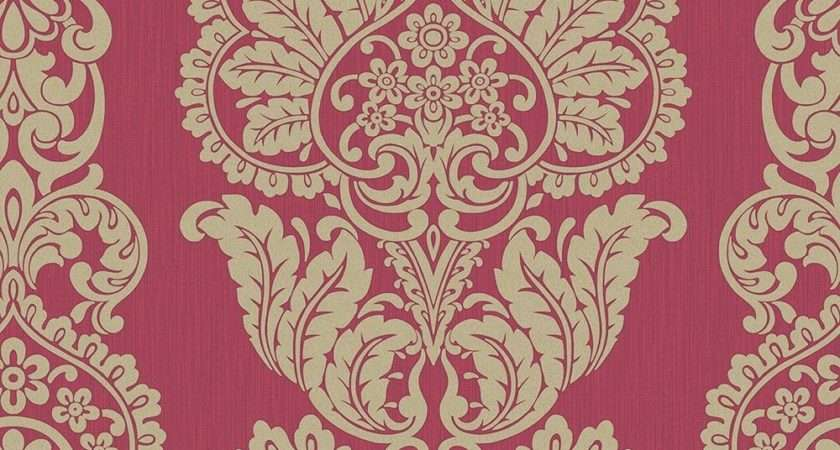 Fine Decor Rochester Damask Textured Glitter Red