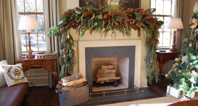 Fireplace Garland Decor Mantel Christmas Decorations Ideas
