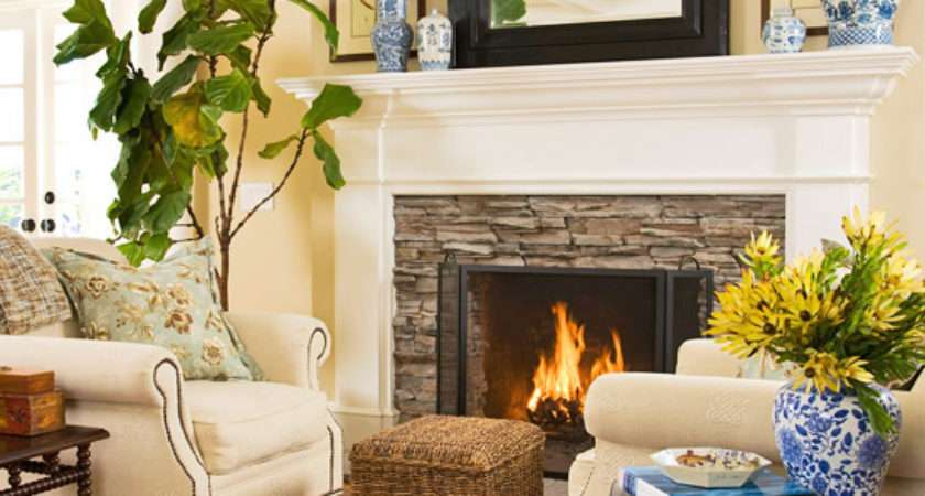 Fireplace Seating Cottage Living Room Bhg