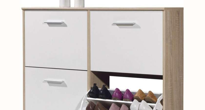Flip Door Hallway Shoe Storage Cabinet Light Oak