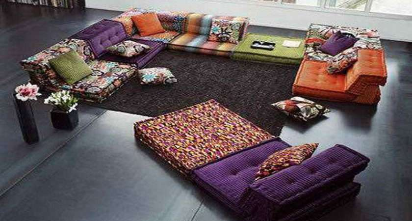 Floor Pillows Ideas Colorful Modular Living Room