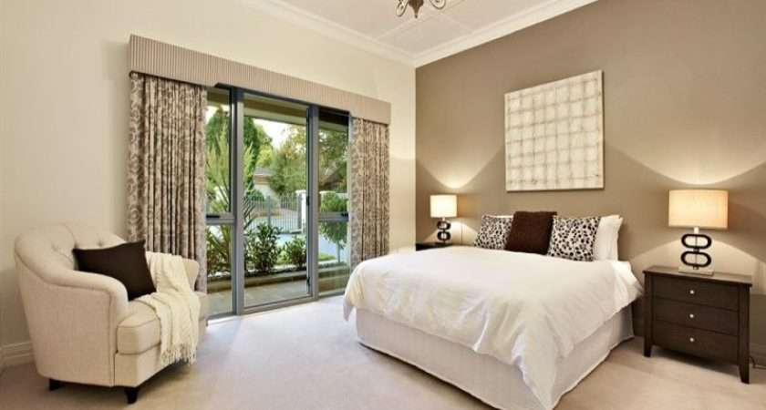 Floorboards French Doors Using Beige Colours Bedroom