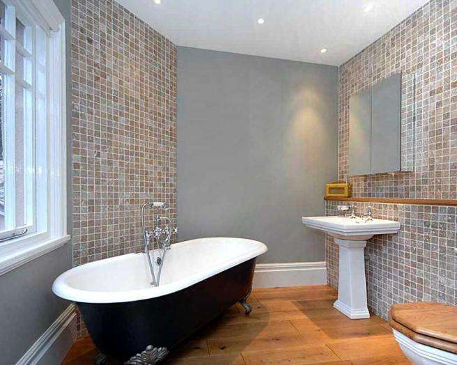 Flooring Freestanding Bath Multi Coloured Tiles Wooden Floor