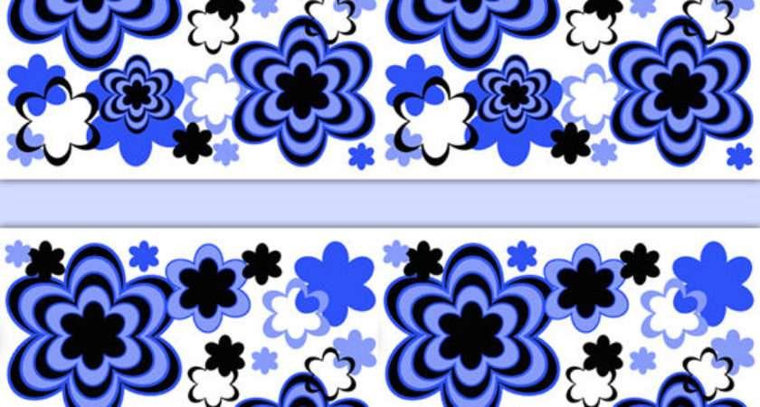 Floral Border Wall Art Decal Royal Blue Abstract
