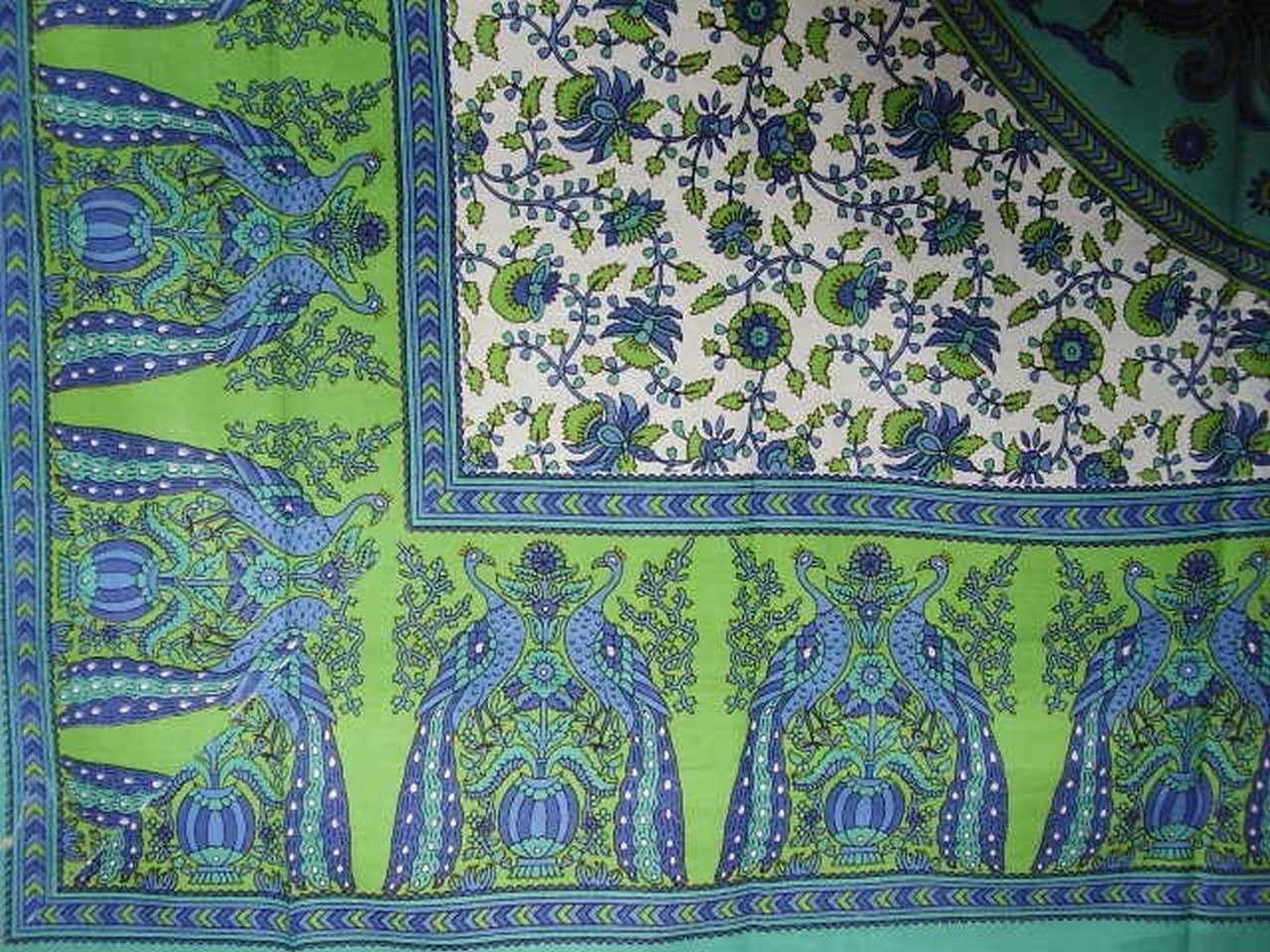 Floral Peacock Tablecloth Spr Ead Colorful Home Decor Green