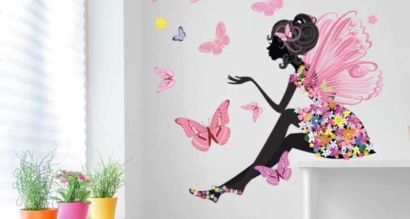 Flower Fairy Wall Sticker Scene Butterfly Decal Girls