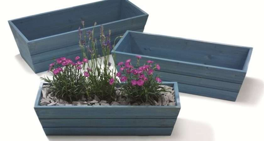 Forget Not Blue Wooden Window Box Trough Planter