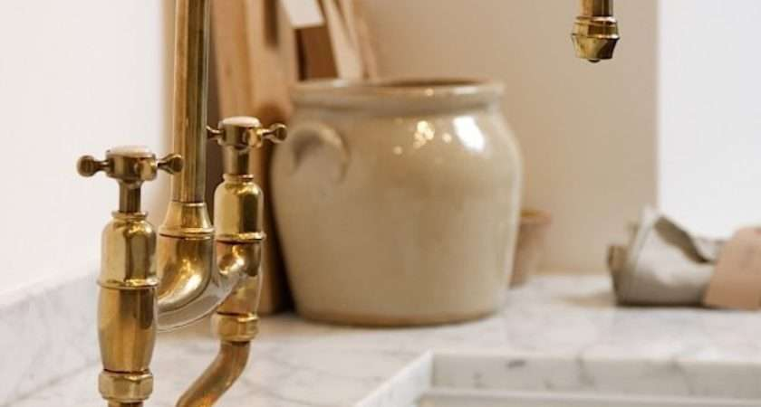 Found Perfectly Aged Brass Kitchen Faucet Remodelista