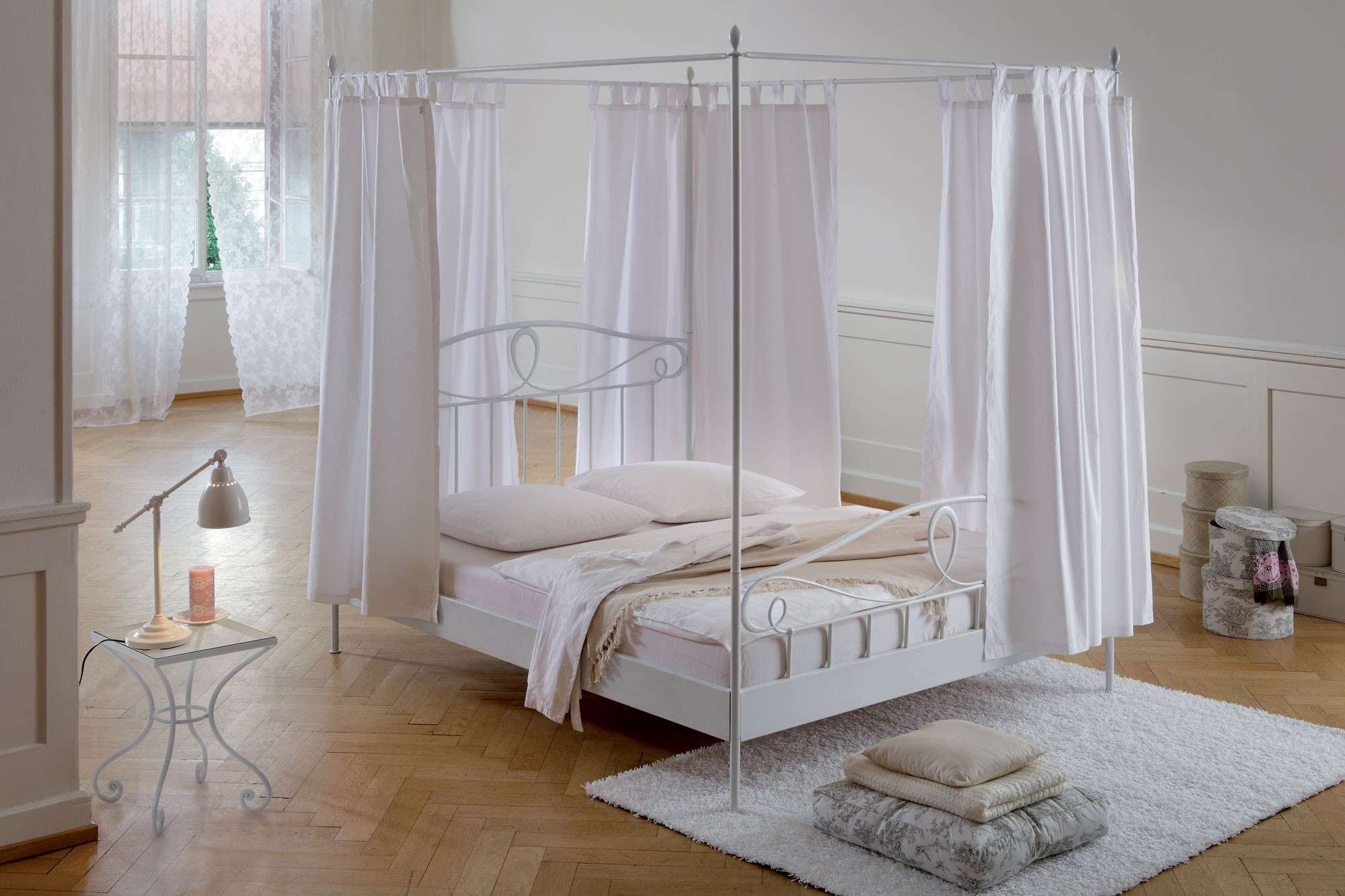 Four Poster Canopy Bed Frame Simple Metal