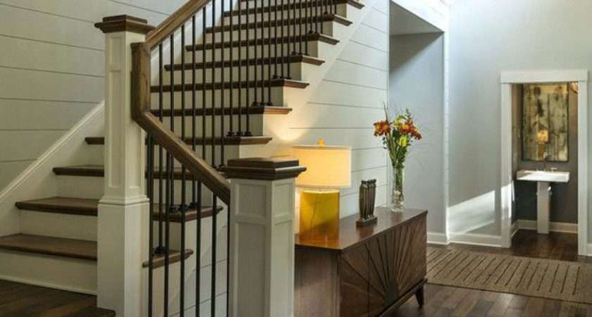 Foyer Stairs New Pine Treads Paintedcheap Stair Flooring